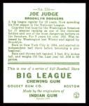 1933 Goudey Reprint #155  Joe Judge  Back Thumbnail