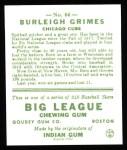 1933 Goudey Reprints #64  Burleigh Grimes  Back Thumbnail