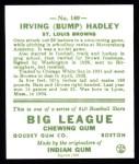 1933 Goudey Reprint #140  Bump Hadley  Back Thumbnail