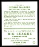 1933 Goudey Reprints #145  Rube Walberg  Back Thumbnail