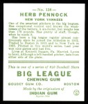 1933 Goudey Reprint #138  Herb Pennock  Back Thumbnail