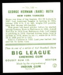 1933 Goudey Reprints #149  Babe Ruth  Back Thumbnail