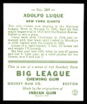 1933 Goudey Reprint #209  Dolf Luque  Back Thumbnail