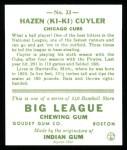 1933 Goudey Reprints #23  Kiki Cuyler  Back Thumbnail