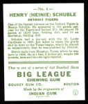 1933 Goudey Reprint #4  Heinie Schuble  Back Thumbnail
