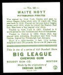 1933 Goudey Reprint #60  Waite Hoyt  Back Thumbnail