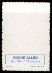 1969 Topps Deckle Edge #26  Rich Allen     Back Thumbnail