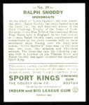 1933 Sport Kings Reprint #25  Ralph Snoddy   Back Thumbnail