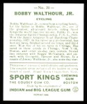 1933 Sport Kings Reprint #31  Bobby Walthour Jr.  Back Thumbnail