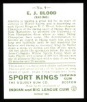 1933 Sport Kings Reprints #9  Ed Blood   Back Thumbnail