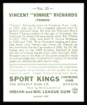 1933 Sport Kings Reprint #23  Vincent Richards   Back Thumbnail