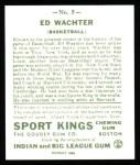 1933 Sport Kings Reprints #5  Ed Wachter   Back Thumbnail