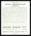 1933 Sport Kings Reprint #21  John Weissmuller   Back Thumbnail
