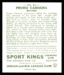 1933 Sport Kings Reprint #43  Primo Carnera   Back Thumbnail