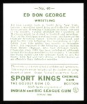 1933 Sport Kings Reprint #40  Don George   Back Thumbnail
