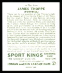 1933 Sport Kings Reprint #6  Jim Thorpe   Back Thumbnail