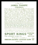 1933 Sport Kings Reprints #6  Jim Thorpe   Back Thumbnail