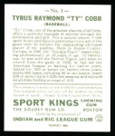 1933 Sport Kings Reprints #1  Ty Cobb   Back Thumbnail