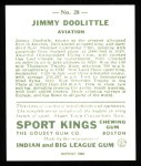 1933 Sport Kings Reprint #28  James Doolittle   Back Thumbnail