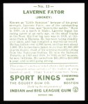 1933 Sport Kings Reprint #13  Laverne Fator   Back Thumbnail
