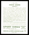 1933 Sport Kings Reprint #19  Eddie Shore   Back Thumbnail