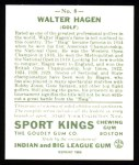 1933 Sport Kings Reprint #8  Walter Hagen   Back Thumbnail