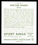 1933 Sport Kings Reprints #8  Walter Hagen   Back Thumbnail