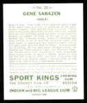 1933 Sport Kings Reprints #22  Gene Sarazen   Back Thumbnail