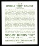 1933 Sport Kings Reprints #4  Red Grange   Back Thumbnail