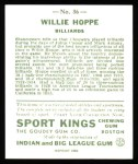 1933 Sport Kings Reprint #36  Willie Hoppe   Back Thumbnail