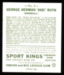 1933 Sport Kings Reprint #2  Babe Ruth   Back Thumbnail