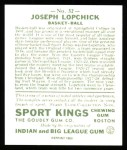 1933 Sport Kings Reprints #32  Joe Lapchick   Back Thumbnail