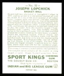 1933 Sport Kings Reprint #32  Joe Lapchick   Back Thumbnail