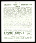 1933 Sport Kings Reprint #45  Babe Didrickson   Back Thumbnail