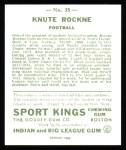 1933 Sport Kings Reprints #35  Knute Rockne   Back Thumbnail