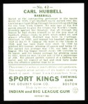 1933 Sport Kings Reprint #42  Carl Hubbell   Back Thumbnail
