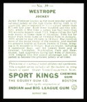 1933 Sport Kings Reprint #39  Jack Westrope   Back Thumbnail