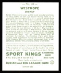 1933 Sport Kings Reprint #39  Jack Westrope   Back Thumbnail