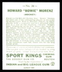 1933 Sport Kings Reprint #24  Howie Morenz   Back Thumbnail