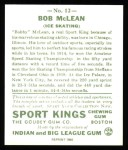 1933 Sport Kings Reprint #12  Bobby McLean  Back Thumbnail