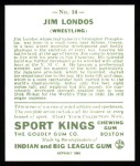 1933 Sport Kings Reprint #14  Jim Londos   Back Thumbnail