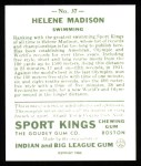 1933 Sport Kings Reprint #37  Helene Madison   Back Thumbnail