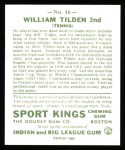 1933 Sport Kings Reprint #16  Bill Tilden   Back Thumbnail