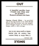 1936 Goudey Reprint #20  Chuck Klein  Back Thumbnail