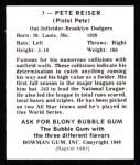 1948 Bowman REPRINT #7  Pete Reiser  Back Thumbnail