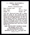 1948 Bowman REPRINT #2  Ewell Blackwell  Back Thumbnail