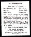 1948 Bowman REPRINT #4  Johnny Mize  Back Thumbnail