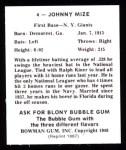 1948 Bowman Reprints #4  Johnny Mize  Back Thumbnail