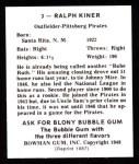 1948 Bowman REPRINT #3  Ralph Kiner  Back Thumbnail