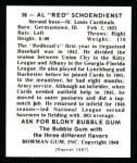 1948 Bowman REPRINT #38  Red Schoendienst  Back Thumbnail